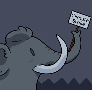Mastodon elephant holding a banner saying 'climate strike'