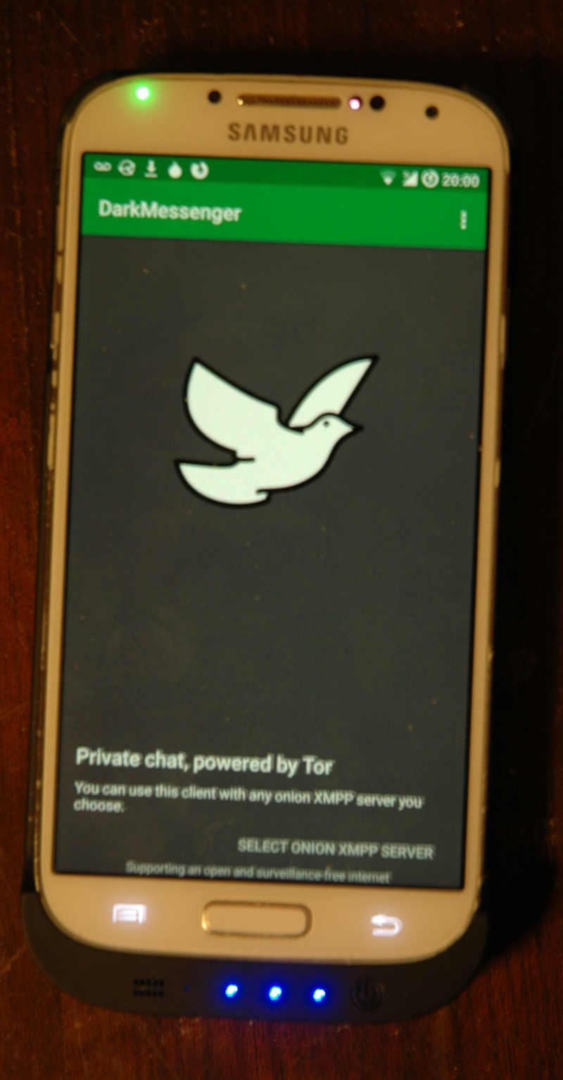 dark messenger on a mobile phone
