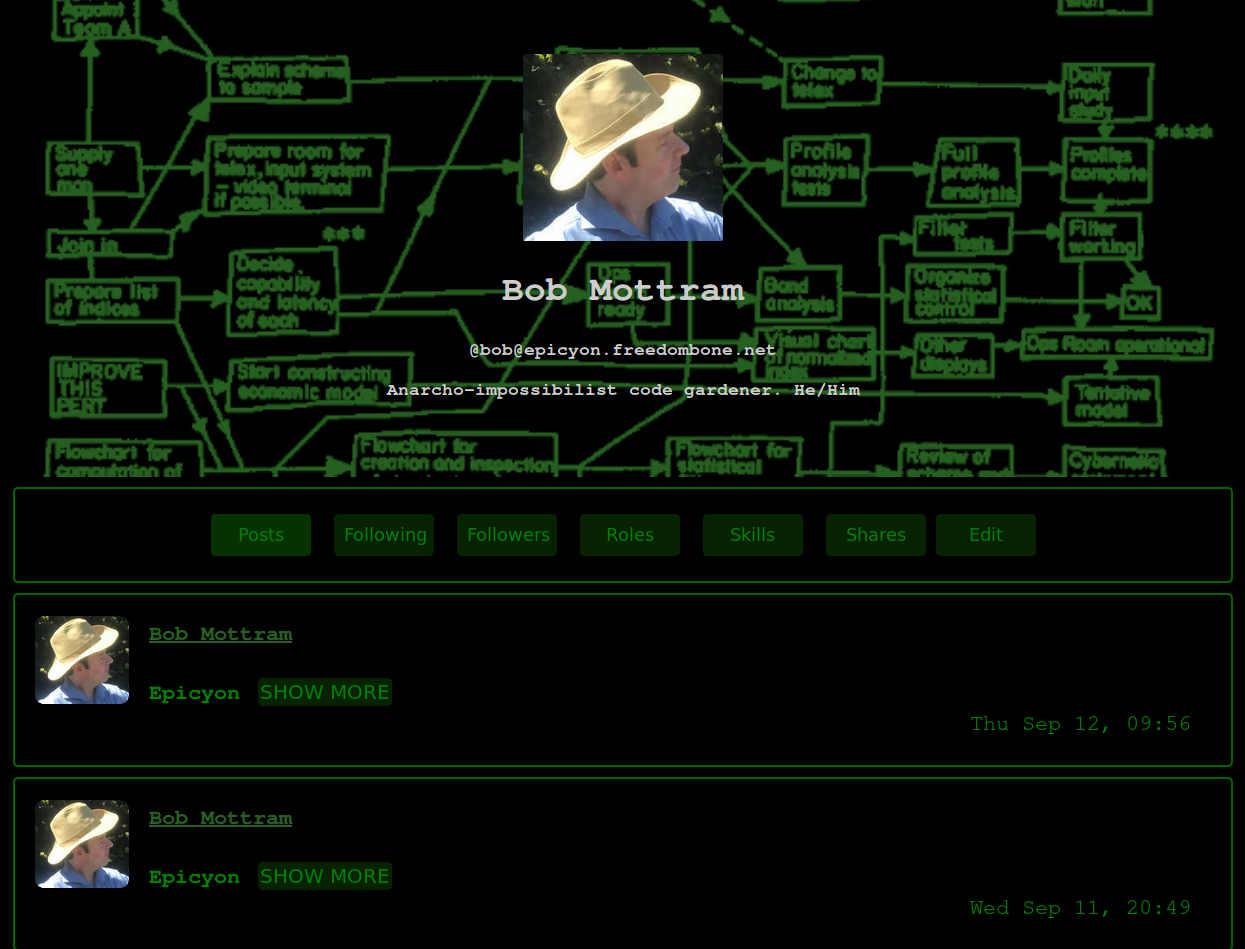 Epicyon screenshot with the hacker theme