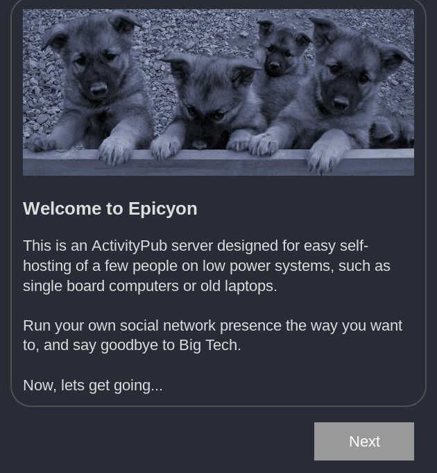 Epicyon welcome screen